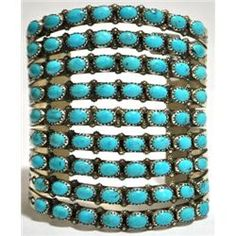 Navajo Turquoise Sterling Silver Cuff Bracelet - Viola Nez