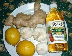 cup Lemon juice 1 cup Ginger juice 1 cup Garlic juice 1 cup Apple cider vinegar Mix all above and simmer in low heat for about 60 minutes or till solution reduces to 3 cups.Remove solution to cool, then mix 3 cups of natural honey an Natural Health Remedies, Herbal Remedies, Home Remedies, Garlic Juice, Ginger Juice, Orange Juice, Nutrition, Apple Cider Vinegar, Gastronomia