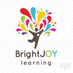 Good colour combination for what we're after. Nice movement and splash like design. Bright colourful tear drop shapes burst from the stylized human figure. Kindergarten Logo, Preschool Logo, Joy Logo, Logo Branding, Branding Design, Learning Logo, Make Your Own Logo, Tree Logos, Education Logo