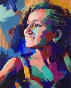 """Guillermo Granero """"Retrato de la joven Candela"""" 63 x 70 cm. Técnica mixta sobre lienzo."""