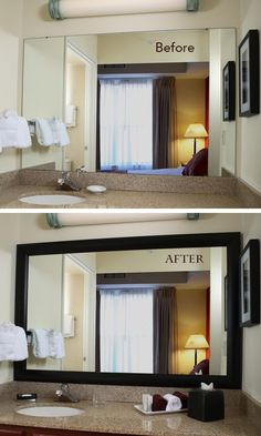 Get a hotel-inspired look at home: the MirrorMate mirror frame presses right ont. - Get a hotel-inspired look at home: the MirrorMate mirror frame presses right onto the mirror for an - Home Renovation, Home Remodeling, Bathroom Renovations, Sweet Home, Diy Casa, Home Projects, New Homes, House Design, Modern Bathroom
