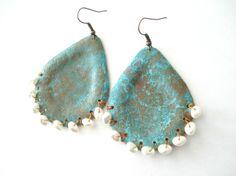 Unique Handmade Copper Patina Earrings-Boho Drop Pearl Earrings-Big Modern Earrings-Turquoise Patina Earrings