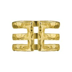 18ct Gold Vermeil 12mm Triple Band Nomad Ring