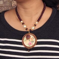 Redeem this Stunning Maroon Graphic Printed Necklace Set for FREE only on LooksGud.in #LooksGudReward #NecklaceSet