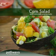 Corn, Avocado, Tomato, Parsley... This is a great freshly picked veggie salad for the upcoming spring and summer potlucks!