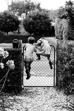 The first thing I thought of as soon as I saw this photo, brought back memories from my childhood. It reminded me of the time my cousin and I were swinging on the front gate at my nana's and I fell right over the gate and smashed my head into the footpath.. Now, 19 years later I have a scar on my forehead to remind of the first time I had to get stitches.. And to never swing on gates ever again
