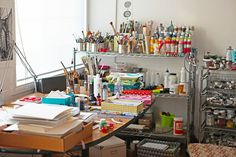 3 Fish Studios - working printmaking and painting studio. My Art Studio, Studio Room, Studio Spaces, Painters Studio, Space Crafts, Craft Space, Craft Rooms, Office Makeover, Pottery Studio