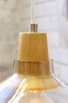 Wood Top glass light- natural timber lampholder cover