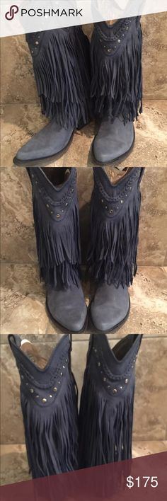 "Liberty Black Russian Blue Fringe Boots size 8 💙 Super sweet and sassy Liberty Black Fringe Russian blue suede boots with a 14"" shaft and 2"" heel! New, never worn without original box. Liberty Black Shoes Heeled Boots"