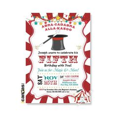 Magic Birthday Invitation. Magic Show Birthday Party Invites. Red Circus Tent 1st Birthday.Come One Come All, Magician Hat, Abracadabra 191 by 800Canvas on Etsy