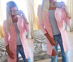 Manteau uni poches boutonnage manches longues décontractée cardigan rose