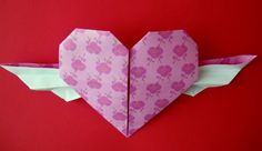 Origami wing heart for Valentine's
