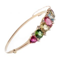 Bracelet with tourmaline and rubellites in 14k gold.