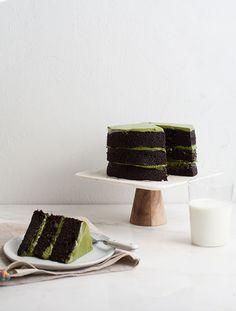 Triple-Layer Chocolate Matcha Cake   www.acozykitchen.com