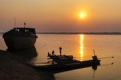 Sunset over Mekong River, Kratie, Cambodia