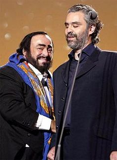 Andrea Bocelli with Luciano Pavarotti, who was his mentor and he referred to Pavarotti as Maestro. Bocelli sang at Pavarotti's wedding in 2003 and at his funeral in 2007.