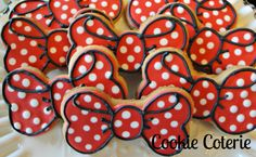 Polka Dot Bow Cookies Decorated Bow Birthday Party Cookie Favors One Dozen
