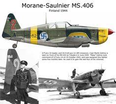 Morane-Saulnier MS.406 - Aviazione Finnica, Capitano Martti Kalima, asso con 10,5 kills su 285 missioni.