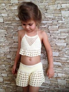 Beach clothing for kids Crochet toddler set top and shorts Ivory crochet lace shorts crop top Toddler outfit Open back top Crochet shorts - Stiche - Baby Bikini Shorts Tejidos A Crochet, Crochet Bikini Pattern, Crochet Lace, Crochet Baby Bikini, Swimsuit Pattern, Crochet Toddler, Crochet Girls, Crochet For Kids, Crochet Ideas