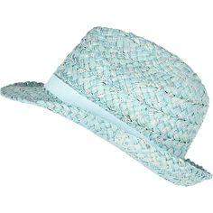 568da7f061c Girls blue sequin straw trilby hat Trilby Hat