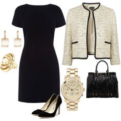 A fashion look from February 2012 featuring shift dress, black shoes and hand bags. Browse and shop related looks.
