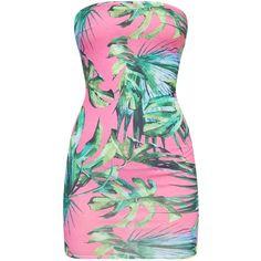 Petite Palm Print Bandeau Mini Dress ($11) ❤ liked on Polyvore featuring dresses, bandeau dress, palm tree dress, palm leaf dress, pink mini dress and short dresses