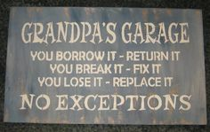 Grandpas Garage Rules...... Wall Plaque Hanging/ by hilltopprims