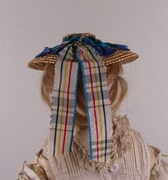 Wonderful Antique Straw Hat for French Fashion Doll circa 1860-1870's. The fine antique French Fashion straw hat decorated with blue checked silk