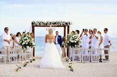 Dreams Tulum Wedding - Chelsea and Jake Beach wedding set ups  wedding flowers decorations   wedding white roses
