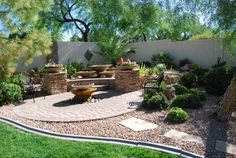 I like the firepit in the middle. Nice way to do a corner of the yard.