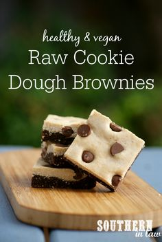These Raw Cookie Dough Brownies are gluten free, vegan and secretly healthy! Made in minutes, this snack or dessert is also refined sugar free, dairy free, egg free and peanut free!