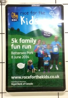Here is a charity poster spotted at Cannon Street rail station in London calling for participants in a 'race for the kids' with Great Ormond Street Hospital. raceforthekids.co.uk #gosh #charity #poster #advert
