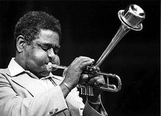 """John Birks """"Dizzy"""" Gillespie was an American jazz trumpet player, bandleader, composer and occasionally, singer. """"Dizzy's contributions to jazz were huge. Bebop was known as the first modern jazz style. Swing introduced a diversity of new musicians in the bebop era like Charlie Parker, Thelonious Monk, Bud Powell, Kenny Clarke and Oscar Pettiford. Jazz Artists, Jazz Musicians, Miles Davis, Louis Armstrong, Malcolm X, Music Icon, Soul Music, Bebop, Jazz Trumpet"""