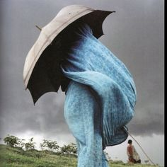 Burqa, umbrella, blue, storm, veil