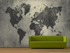 Home Design and Interior Design Gallery of Black Grey World Map Wallpaper For Walls
