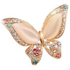 Opal Broche de Mariposa para Las Mujeres Rhinestone Broche de Moda Bijouterie Joyería de La Boda 3 Colores Disponibles de Oro Plateado Sin Plomo