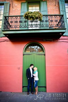 Love this New Orleans street engagement in the heart of the French Quarter! | New Orleans engagement, French Quarter engagement photos | Jim Kennedy Photographers
