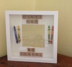 Made to order first day at school frame. Personalised to remember that first special day.