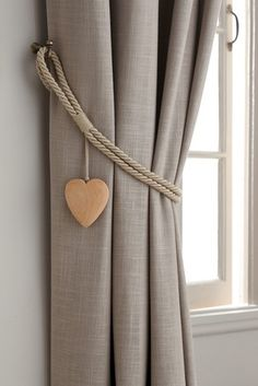 Next Set of 2 Wooden Heart Tie Backs - Natural Living Room Decor Curtains, Home Curtains, Curtains With Blinds, Bedroom Decor, Ceiling Curtains, Home Decor Furniture, Diy Home Decor, Curtain Tie Backs Diy, Curtain Ties