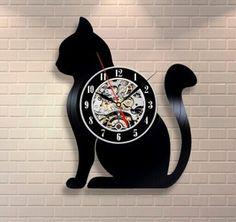 Vinyl Black Cat Wall Clock