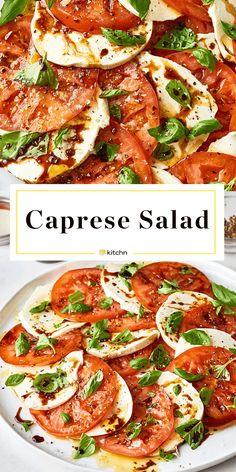 To Make Easy Caprese Salad with Balsamic Glaze Caprese Salad With Balsamic Glaze. When tomatoes are at their peak, a classic caprese should be in constant rotation. The dressing for this impressive side dish (perfect if you need ideas for dishes and sides Gourmet Recipes, Appetizer Recipes, Vegetarian Recipes, Dinner Recipes, Cooking Recipes, Healthy Recipes, Caprese Appetizer, Summer Recipes For Dinner, Gourmet Salad
