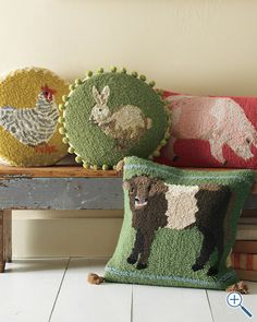 Animal portrait hooked wool pillow cover. $58.00 I would love the bunny with pom poms