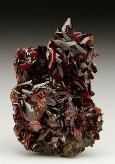 Excellent deep rich pink-red gemmy crystals specimen of Rhodochrosite from the N'Chwaning Mines, South Africa. Crystal Classics Minerals