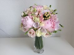 runder Brautstrauss: Pfingstrosen, Eustoma, Wicken, Freesien, Hypericum Wicken, Bouquets, Flowers, Home Decor, Pentecost, Florals, Wedding, Dekoration, Bouquet