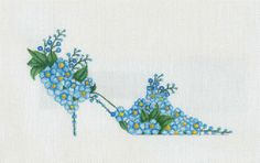 Beautifully hand painted Blue Forget-Me-Knot Slipper on Zweigart canvas, 7 X great addition to you slipper collection Diy Embroidery Projects, Hand Work Embroidery, Silk Ribbon Embroidery, Needlepoint Designs, Needlepoint Canvases, Cross Stitch Designs, Cross Stitch Patterns, Cross Stitching, Cross Stitch Embroidery