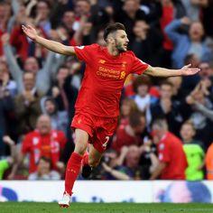 Adam Lallana celebrates his thunderous strike vs Leicester (4-1)