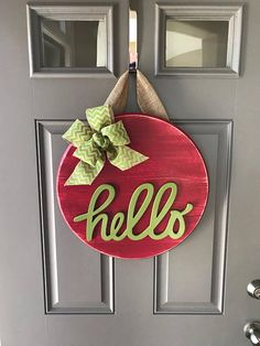 Summer Door Hanger, Front Door Sign, Hello Door Hanger, Summer Wreath, Wood Round Door Decor, Green Door Decor, Red Door Decor, Watermelon