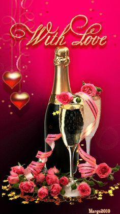 roses and champagne❤️️LOVE Happy Anniversary Wishes, Birthday Wishes, Happy Birthday, Benfica Wallpaper, Champagne, Animation, Valentine Day Love, Love Wallpaper, Beautiful Roses
