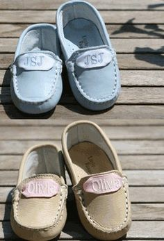 monogrammed baby mocs.  Find here: http://www.babybox.com/mohamobylira.html http://littlecupcakescompany.com/item_679/Personalized-Moccasins--Toddler.htm http://www.tinytulip.com/monogrammed-kids-ribbon-moccasins