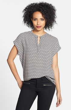 This is the short sleeve version of the MUST HAVE shirt.  And you really must have it.  I would suggest sizing down.  It comes in a ton of different colors and patterns, and it's only $29.90 right now during the last 2 days of the Nordstrom Anniversary Sale!